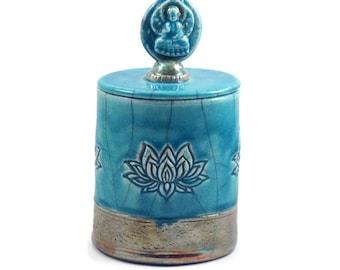 RAKU JAR POTTERY Lotus Lidded Container Handmade Pottery- Urn