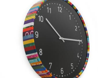colorful round clock - made from recycled magazines, unique, black face, round, unique, kitchen clock, artistic, bright
