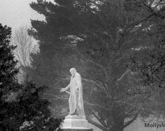 Black and White Photo, Jesus in Snowy Forest, Cemetery Statue Art Picture, Religious Decor, Christian Wall Print