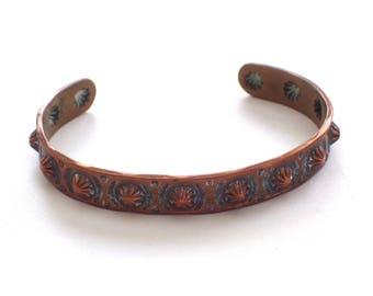 Vintage Copper Tribal Cuff, Southwestern Copper Concho Concha Cuff Bracelet, Bell Trading Post Bracelet