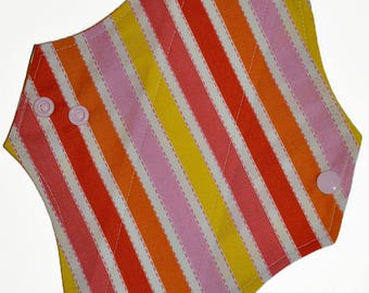 Light Core- Sherbet Stripes Reusable Cloth Pantyliner Pad- 8.5 Inches