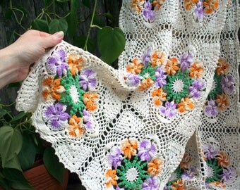 Gorgeous Romantic Handmade Colorful Crochet Floral Table or Dresser Scarf