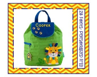 28 Fonts- Toddler LION Smaller Personalized Quilted Backpack- Boy's Lime Green and Blue Preschool/ Day Care/ Diaper Bag