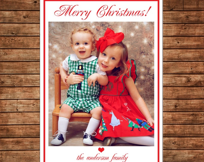 Christmas Holiday Photo Card Traditional Elegant Red White  - Can Personalize - Printable File or Printed Cards