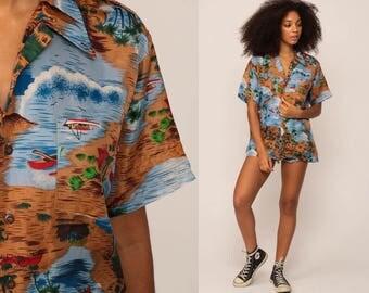 Surfer Shirt Hawaiian Shirt Tropical Shirt 70s Blouse Button Up Shirt Palm Tree Beach Boat Hippie 1970s Top Brown Blue Large