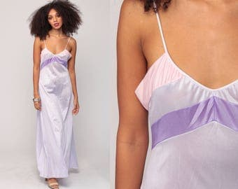 Lavender Nightgown Pastel Sheer Nightgown Lingerie Slip Dress 70s Maxi Boho Striped Purple Empire Vintage 1970s Bohemian Small Medium