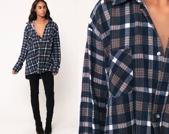 Plaid Flannel Shirt Button Up Shirt 90s GRUNGE Blue Tan Brown Checkered 1990s Vintage Oversized Long Sleeve Boyfriend White Extra Large xl