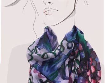 Grape Expectations hand painted lavender silk scarf