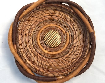 Pine Needle Basket withs Wooden Center- Item 799 by Susan Ashley