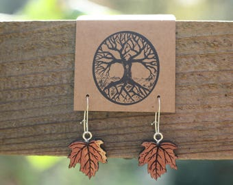Small Leaf Earrings in Red Cedar- Smaller- Wooden Earrings- - Natural Wood Jewelry- Eco Earrings
