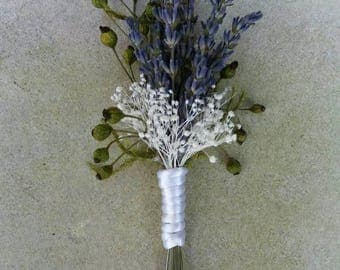 ON SALE 1 Rustic Dried Lavender Wedding Flower Boutonniere, Dried Lavender Lapel Pin, Buttonhole, Groom, Groomsman, Organic Vibe Prom,