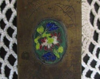 Copper Antique  Floral Enameled? Footed Metal Match Safe Holder  Box