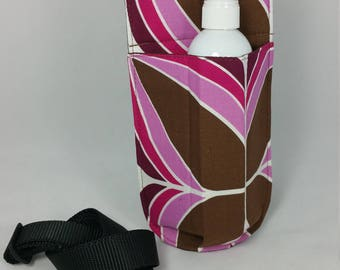 Massage therapy single 8oz bottle hip holster, pink, brown, geometric print, black belt