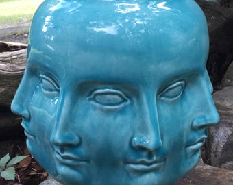 Planter, head, perpetual head planter, blue, glacier blue, translucent, ceramic, handmade, head planter, pot, flower pot, vase