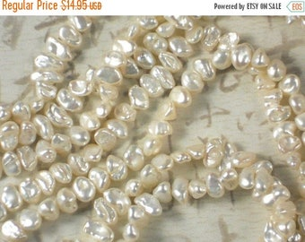 ON SALE Keishi Pearls Bridal Creamy White Oval Side Drilled Hong Kong - Full Strand  (4135)
