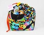 Mini Project Bag - Rainbow on Black