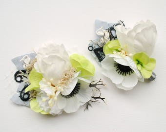 White Anemone Bridal Flower Hair Comb, White Black Gray Green Weddings Comb, Anemone Groom Boutonniere, White Black Green Bridal Headpiece