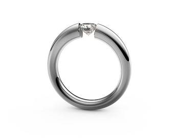 0.50 White Sapphire Tension Set Ring Brushed Stainless Steel