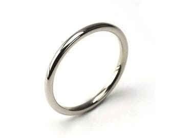 1mm 1.5mm and 2mm Halo Wedding Ring Band in Polished or Satin Brushed Finish Stainless Steel