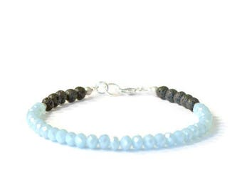 Aromatherapy Bracelet, Light Blue Crystal and Natural Lava Stones, Diffusing Jewelry