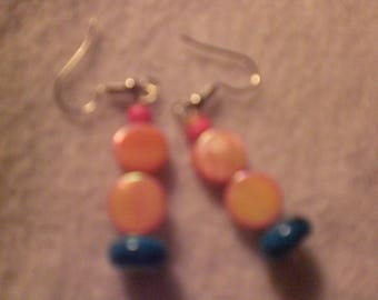 Pink and Blue - beaded earrings