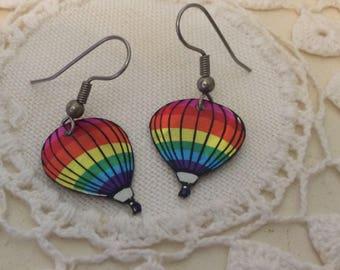 Vintage Rainbow Hot Air Balloon Earrings