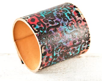 Custom Size Turquoise Cuffs, Unique Boho Jewelry, Turquoise Bracelets Wristbands, Leather Jewelry For Women
