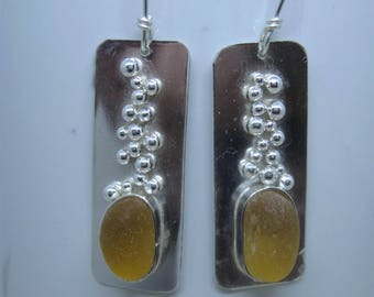 Sea Glass Earrings - Icelandic Amber Sea Glass and Sterling Silver Earrings