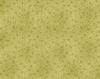 """NEW Chicks on the Run Craft 100% Cotton Quilt Fabric 44"""" wide X ONE Yard -Green Egg Dot Tonal"""