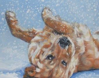 "GOLDEN RETRIEVER dog art canvas PRINT of LAShepard painting 12x12"" xmas portrait"