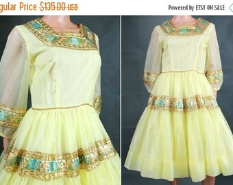 ON SALE SALE! 50s Cocktail Dress M - Vintage Yellow Chiffon Party Gown Metallic Gold Floral Trim Costume Free Us Shipping