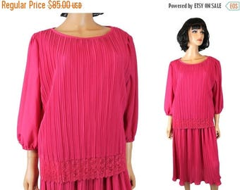 ON SALE 80s Secretary Dress 22 XXL 2X 3X Vintage Hot Pink Pleated Crepe Lace Prom Gown Free Us Shipping