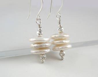 Cultured Pearl Earrings, Pearl Jewelry, Nickel Free Earrings, Freshwater Pearl Earrings, White Pearl Earrings, Pearl Drop Earrings 925