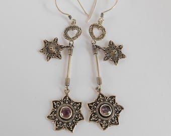 Balinese Sterling Silver amethyst gemstone star dangle Earrings / 2.50 inch long / Bali Jewelry