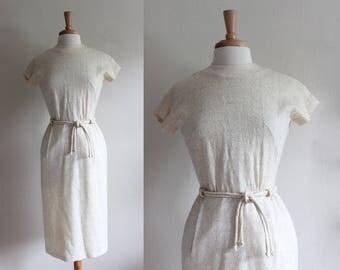 1960s Dress / Vintage R&K Originals Gold Embroidered Cream Dress