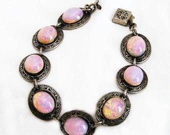 Pink Opalescent Bracelet Engraved Silver Setting