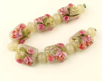 Lampwork Glass Bead Set Garden Florals, Cream with Pink Flowers