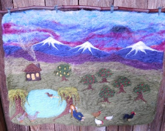 The Chicken Lady's Homestead - Felted Wool Wall Hanging