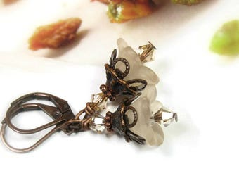 Flower Earrings, Floral Earrings Crystal Golden Shadow Swarovski, Copper Bronze, Feminine Jewelry For Her, Boho Chic, Birthday Gifts for Her