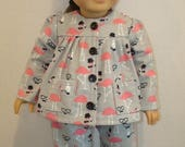 "ON SALE Fits American Girl Doll, 18"" Doll Clothes, Pajamas,Flamingos,READY To Ship,Nightwear, Sleepwear, Flannel,Pipes,Pink,Animals,ag doll,"