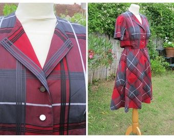 Gorgeous French Vintage Tartan Dress, 1940s, size S.