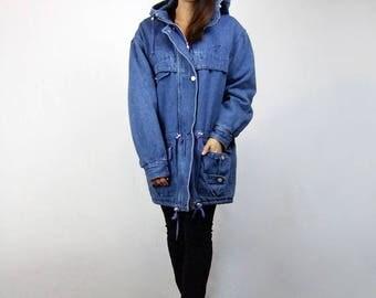 Vintage 80s Denim Duffle Coat Unisex Hooded Oversized Blue Jean Jacket 1980s Fall Winter Coat - Large L