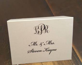 Black and white monogram wedding place cards, classic Elegant Script Escort Cards, black tie wedding, simple place cards, seating cards