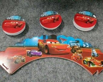 24 piece cars cupcake topper and wrapper.  Double sided