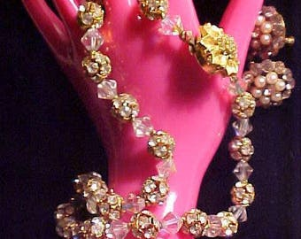 Vintage Crystal Necklace Rondell Beads & Earrings QUALITY Stunning NOT Your Usual Crystals
