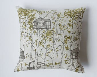 SALE 20% OFF - Linen Pillow Cover - Green Tree Houses