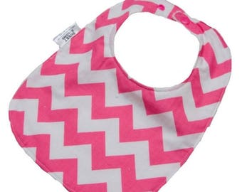 On Sale Pink Chevron Bib - Infant or Toddler Bib - ADJUSTABLE snaps - REVERSIBLE