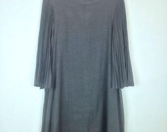 Vintage 60 Sheer Gray Pleated Bell Sleeve Dress Flutter Avant Garde Mid Century Mod Goth Grunge ILGWU
