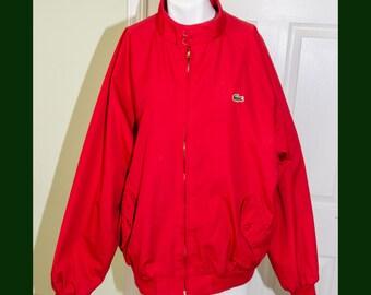 Vintage 1980's Men's Preppy Izod Lacoste Red Jacket Large