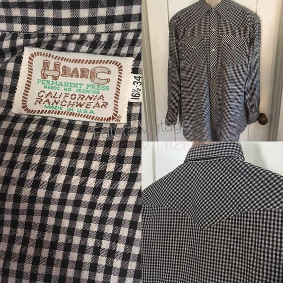 1960s H BAR C California Ranchwear Classic Black and White Gingham Pearl Snap Long Sleeve Shirt-L
